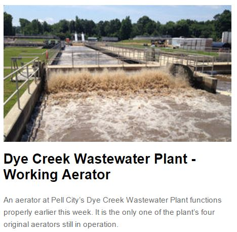 Dye Creek Wastewater Plant - Working Aerator